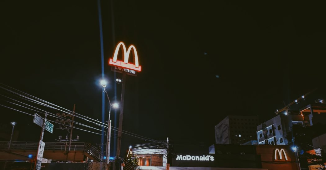 Mcdonalds facade at night